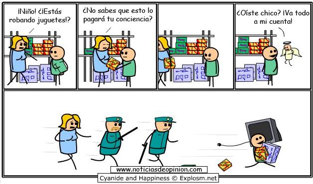 Viñeta: lo pagará tu conciencia (Cyanide and happiness en español)