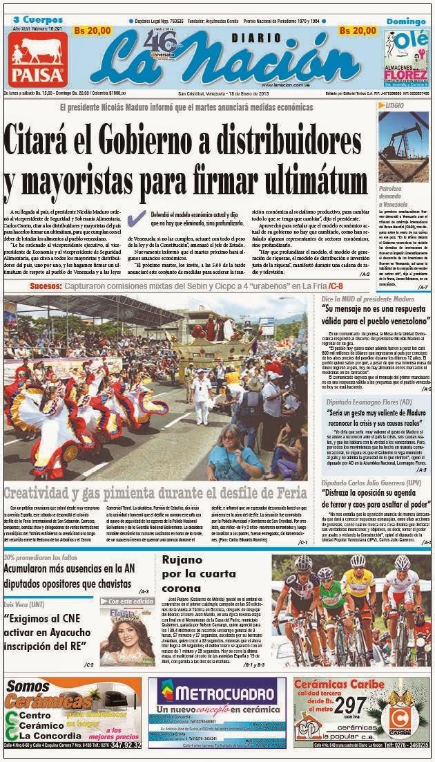 18Ene2015 Gran titular Portada del Diario impreso La Nación de San Cristóbal en Táchira-Venezuela