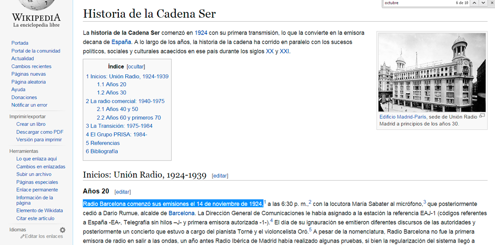 Historia de la Cadena Ser, Wikipedia
