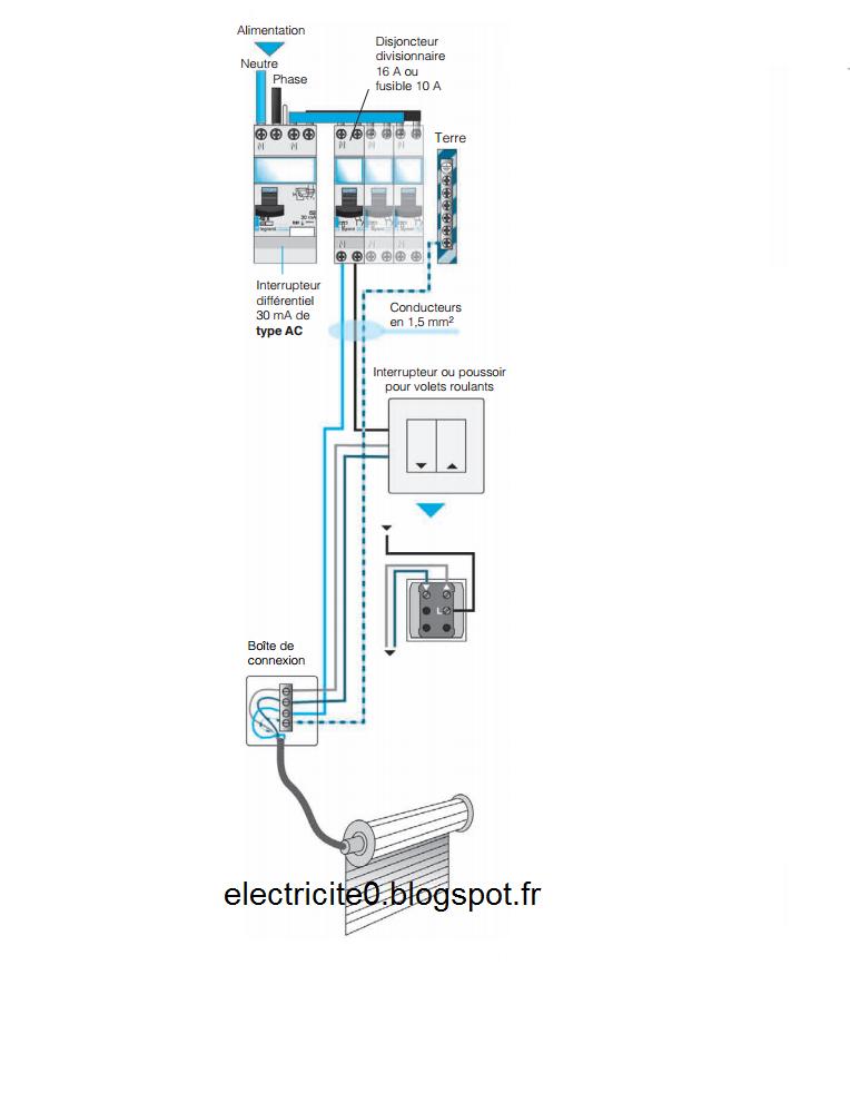 electricit u00e9   sch u00e9ma  u00e9lectrique du raccordement du volet roulant