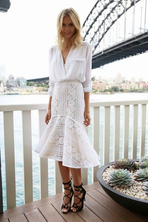Wearing a White Lace Midi Length Skirt with Blouse for Romantic Spring Look