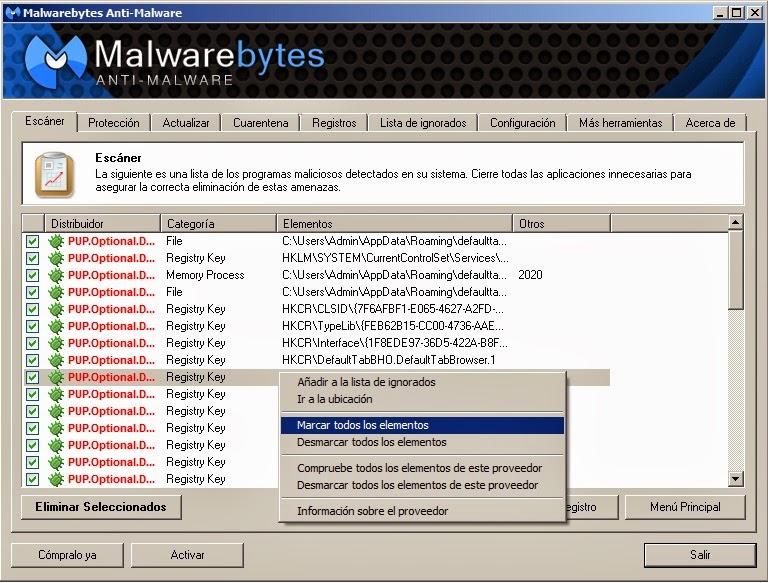 Malwarebytes Anti-Malware eliminar amenazas detectadas
