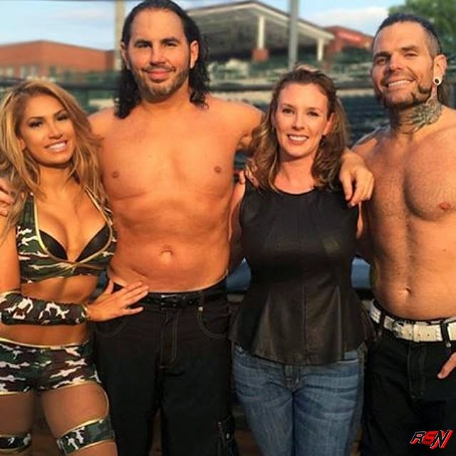 Matt And Jeff Hardy With Their Beautiful Wives.
