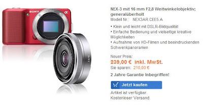 Digitalkamera Sony NEX3AR.CEE5.A mit Weitwinkelobjektiv generalüberholt im Sony-Outlet für 239 Euro