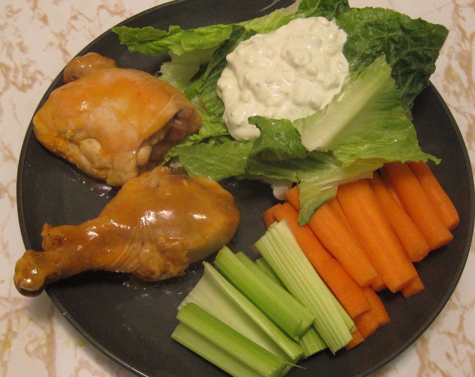 ... chicken with the traditional celery and carrot sticks, plus some salad