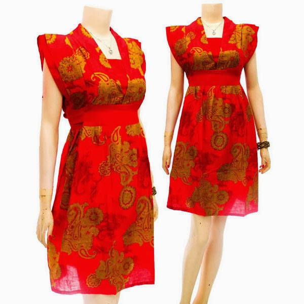 DB3701 Mode Baju Dress Batik Modern Terbaru 2014