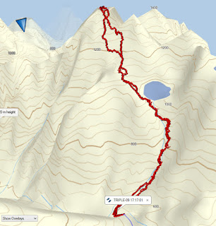 Hiking and Climbing Triple Peak via the Southeast Ridge Route Map for Triple Peak