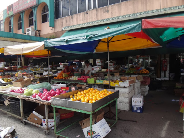 Fruits stall can be seen at the morning market in Malaysia