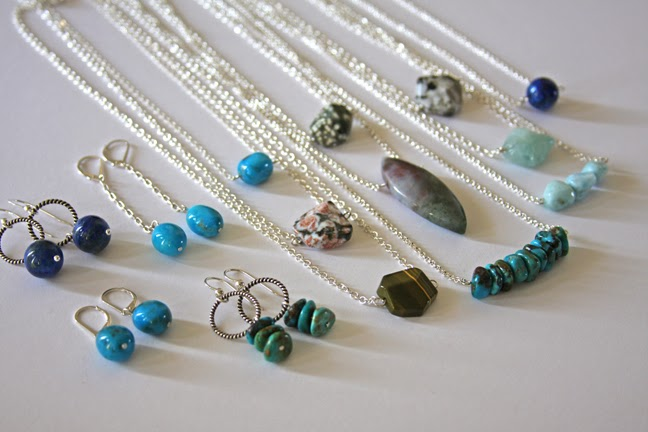 new minimalist gemstone jewelry by Jennifer Kistler earrings and necklaces in sterling silver
