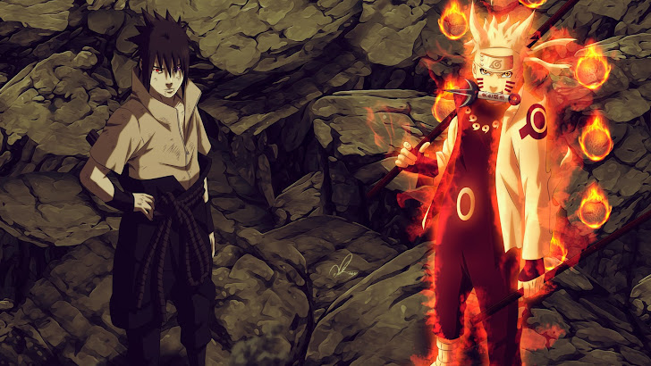 sasuke uchiha sharingan / rinnegan eyes and naruto uzumaki sage of six path join forces anime