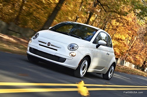 Fiat 500 on Autumn Road