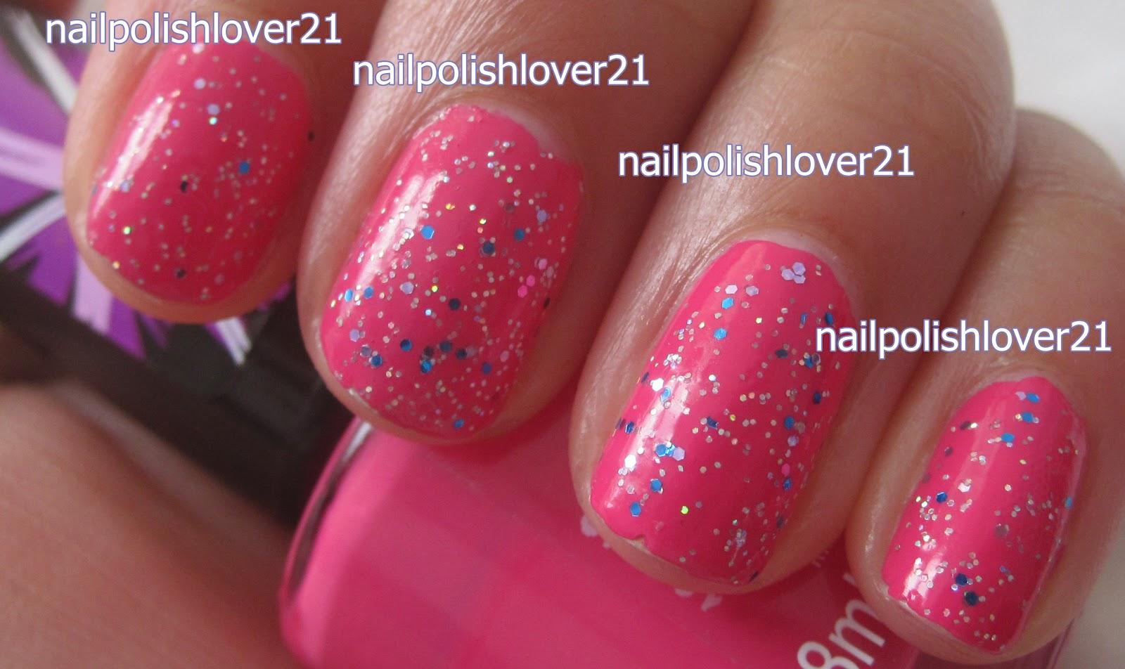 Hot Pink Glitter Nail Polish Finish Nail Polish in Hot
