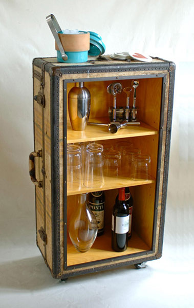 This vintage suitcase bar is adorable for any home.
