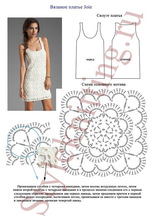 Летнее платье спицами схемы