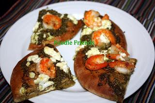 pesto, shrimp and goat cheese pizza