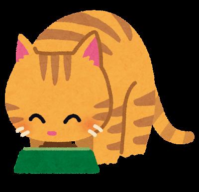 餌を食べる猫のイラスト