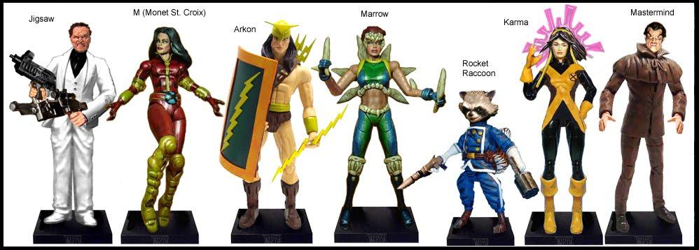<b>Wave 28</b>: Jigsaw, M (Monet St Croix), Arkon, Marrow, Rocket Raccoon, Karma and Mastermind