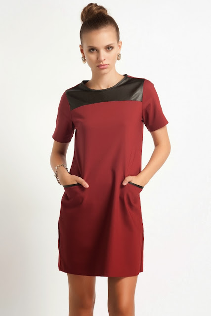 bordo kısa elbise, cepli elbise, bol kesim elbise