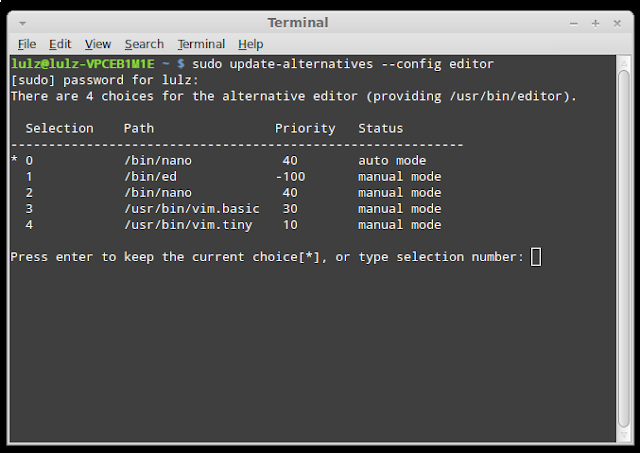 Change the default system text editor in Linux
