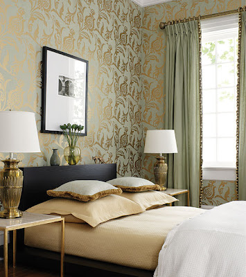 quarto de casal papel de parede floral