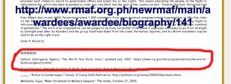 Biography of Arvind Kejriwal released by Magsaysay Award Foundation - First reference is Central Intelligence Agency (CIA)