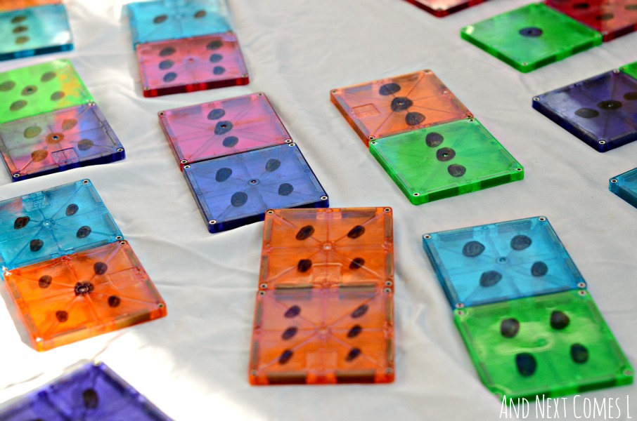 DIY dominoes for math and number learning - made using Magna-Tiles from And Next Comes L