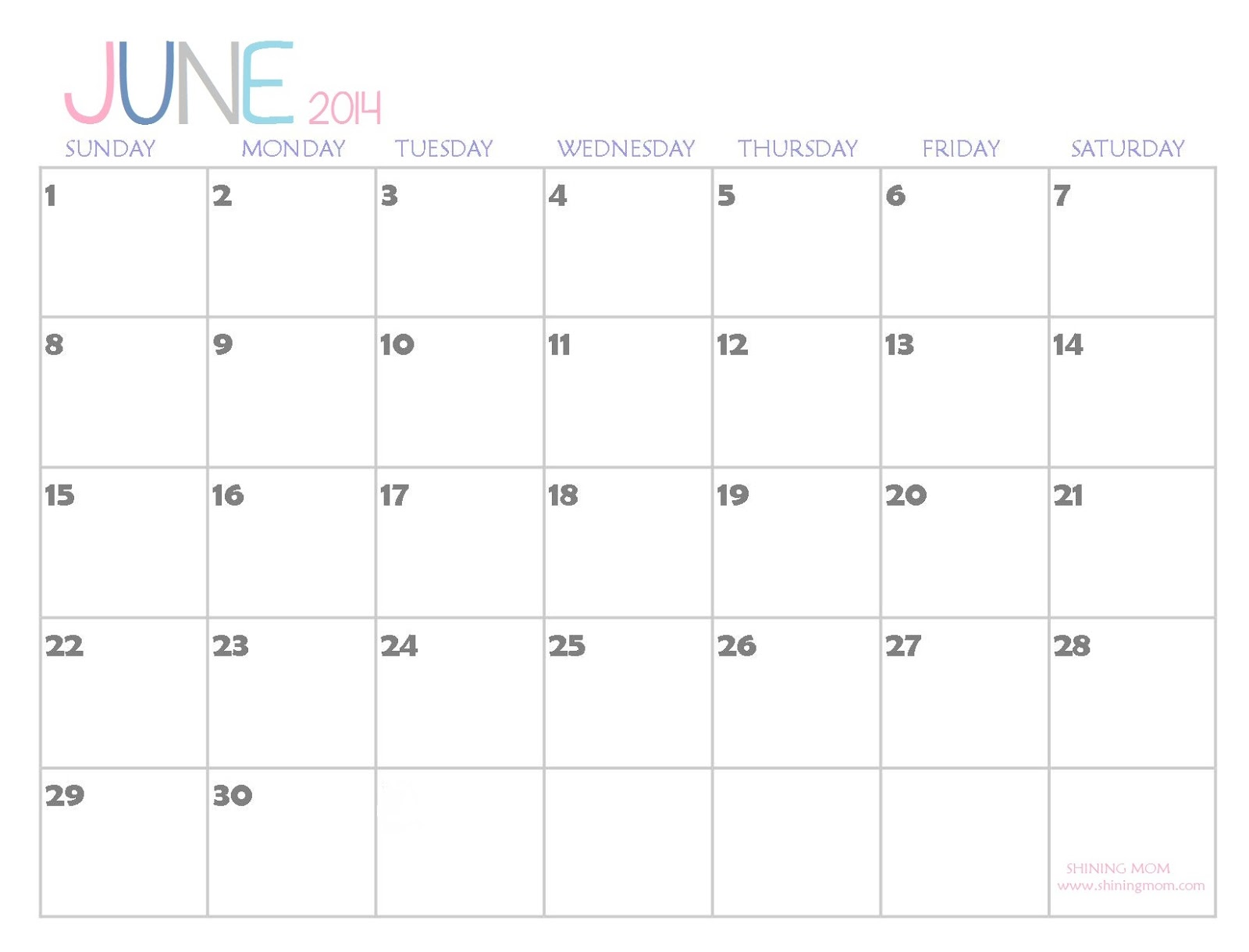 The Free Printable 2014 Calendar By Shining Mom Is Here