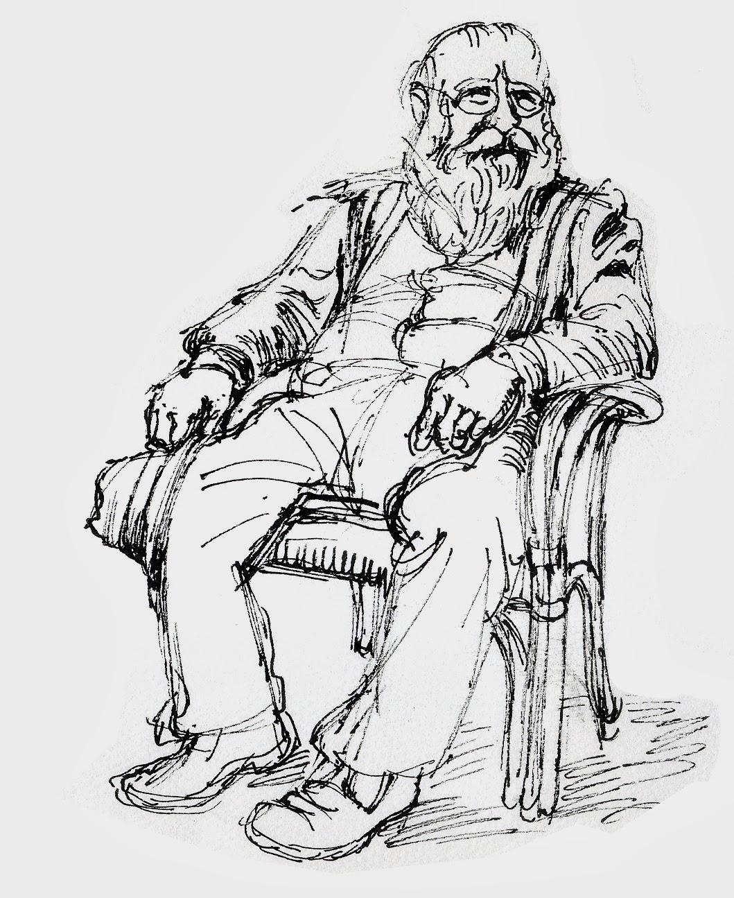 Hermann Nitsch, Portrait, Zeichnung, Mann, sitzend, Garten, Lehnstuhl, Prinzendorf, Blut, Künstler, Maler, drawing, line drawing, chair, old man