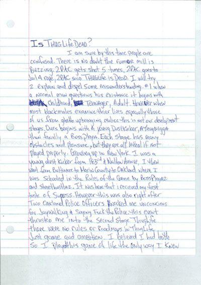 Tupac's is thug life dead letter to sell for $225,000 pic 1