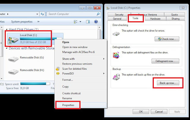 Cara backup data dan restore windows 7 a