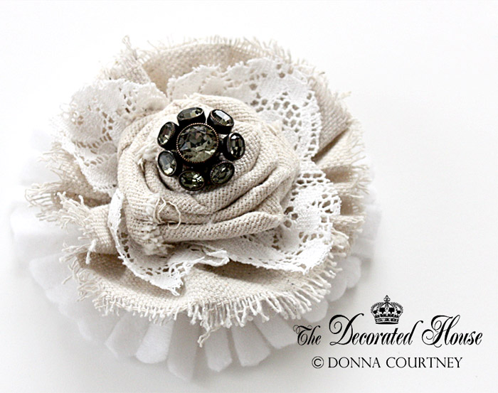 The decorated house how to make fabric flowers continued diy one that is a favorite look that could be worn as an adornment to a sweater or jacket as well as using it on a pillow this one features a beautiful mightylinksfo Images