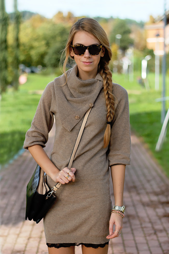 knit dress over slip dress, fall autumn outfit, illesteva sunglasses