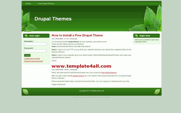 Nature Green White Free Drupal 6 Theme Template