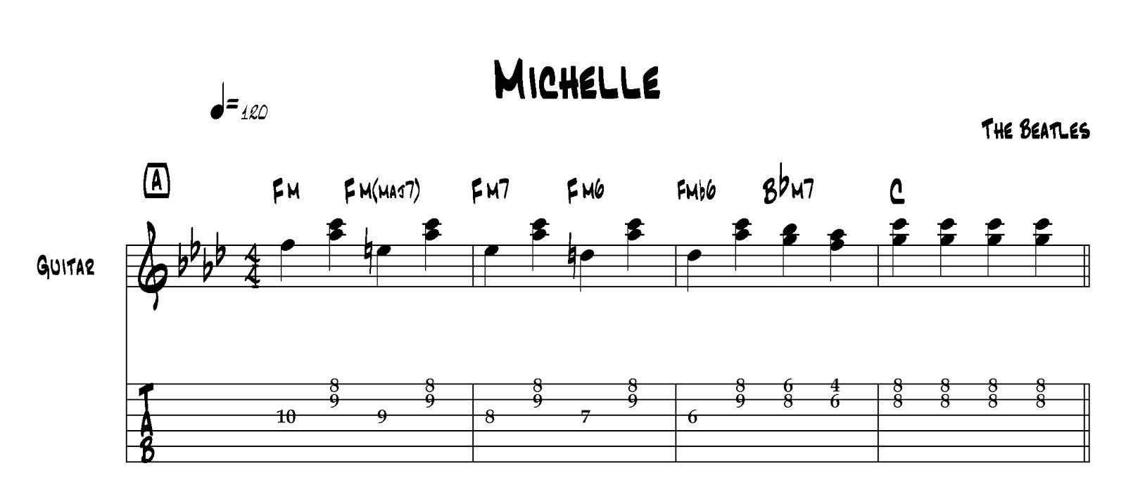 Michelle Guitar Chords