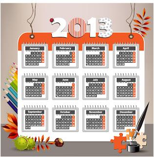 新年のカレンダー テンプレート 2013 new year calendar templates イラスト素材5