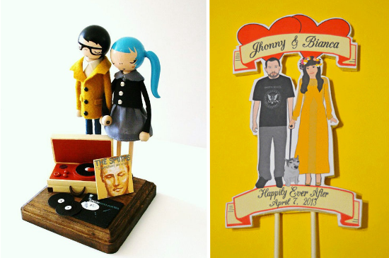 hipster wedding cake toppers