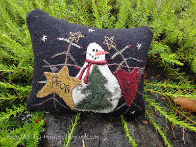 Peace...Love...Joy pincushion, front