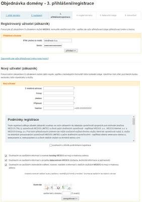 Přihlášení/registrace uživatele