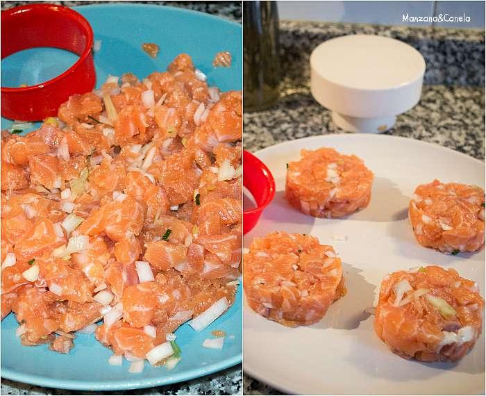 Hamburguesas de salmón con panecillos integrales de tomate