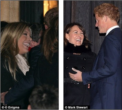 No bad blood: Chelsy looked happy to see Harry and shot him a beaming ...