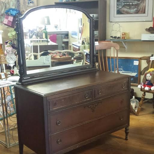 French Country Antique Dresser W Mirror
