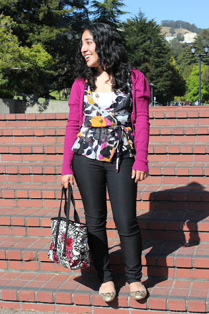 DVF Silk Wrap Top and F21 Work Pants
