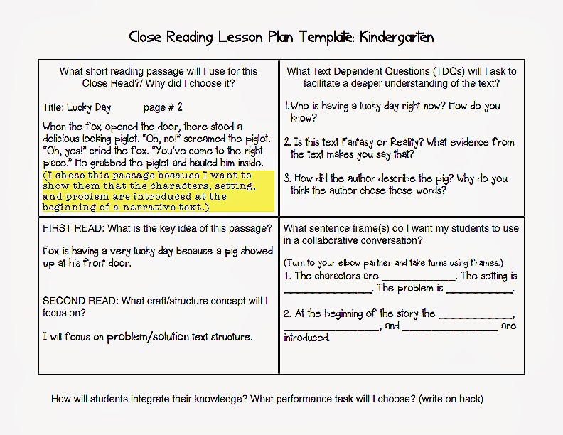 Common Core Blogger Common Core Lesson Plan Template