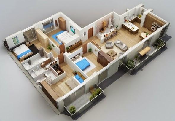 Desain Rumah Minimalis 2 Lantai 3 Kamar Tidur