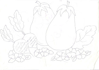 Risco para pintar berinjela,rabanetes e flores