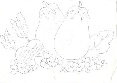 المخاطرة لرسم الباذنجان والفجل والزهور