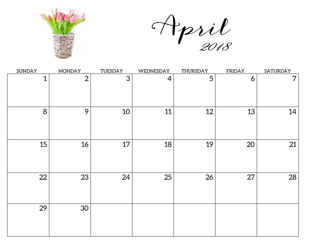 april 2018 monthly calendar printable templates