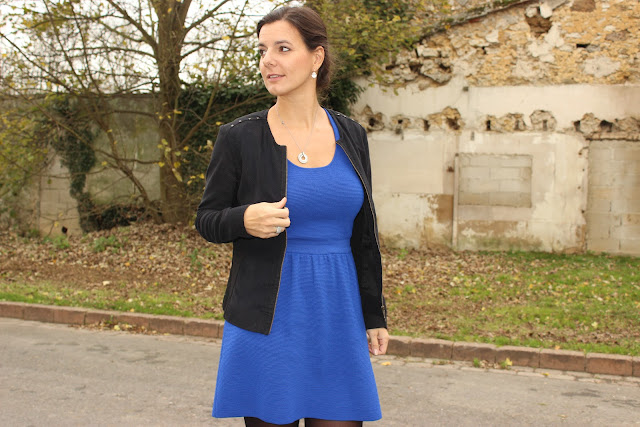 Robe bleue naf naf, chaussures minelli