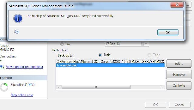 sucessful sql backup