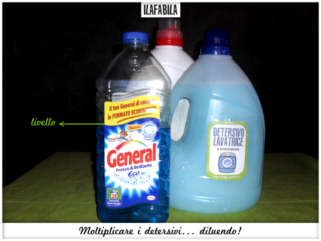 Moltiplicare i detersivi... diluendo il liquido per la lavatrice